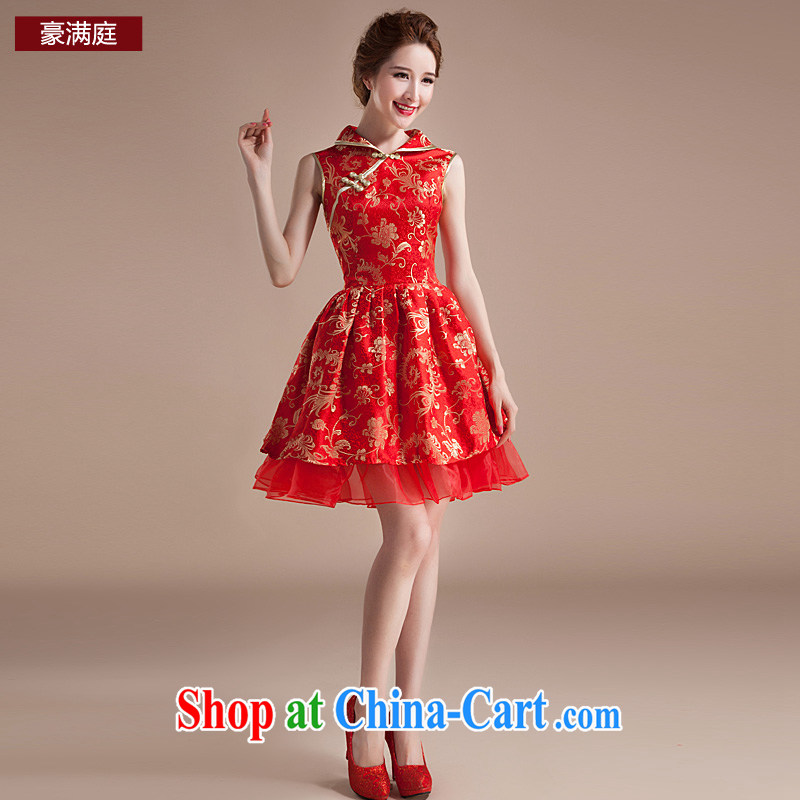 Ho full Chamber spring and summer bridal wedding dress dresses red improved retro wedding toast wedding service bridal red XL