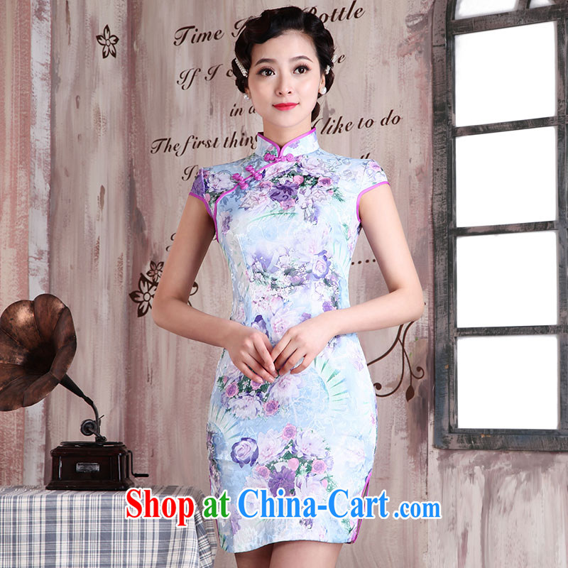 Jubilee 1000 bride's 2015 spring and summer new women with stylish retro improved cultivating graphics thin ethnic wind short, daily cheongsam dress X 2022 first prey Veng XXL