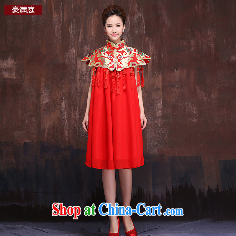 Ho full Chamber macrame class Su wind marriages red short bows service embroidery dress large numbers of Phoenix autumn red XL