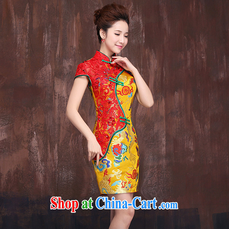 dragon robe improved Chinese wedding toast clothing 2015 new short Gold Red bridal dresses dresses dresses Kim + red XL