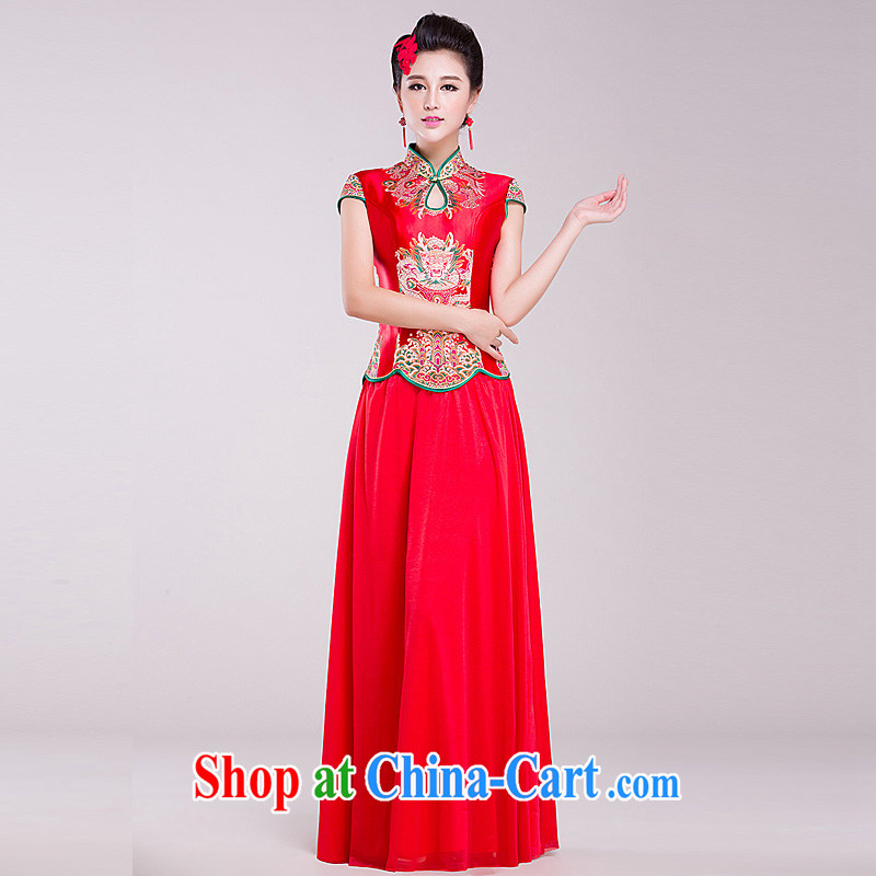 Ho full Chamber wedding dresses 2015 new dresses short-sleeve bridal red improved retro wedding toast serving red XL