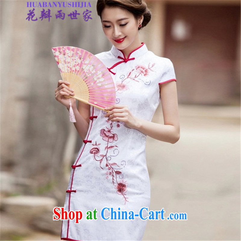 Petals rain Family Summer 2015 trendy short cheongsam beauty dresses, 518 - 1124 - 55 white L