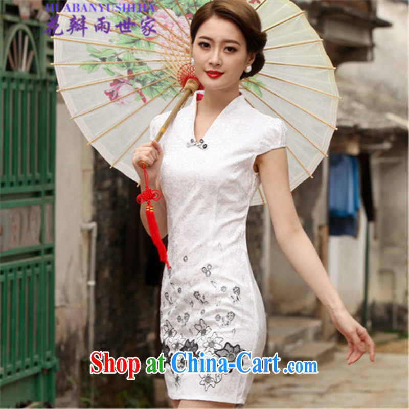 Petals rain family 2015 summer retro short cheongsam dress, 518 - 1120 - 42 white XL