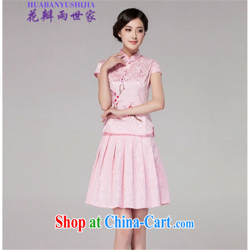 Petals rain Family Summer 2015 cheongsam dress high-end retro style two-part kit, 518 - 1125 - 60 pink XL