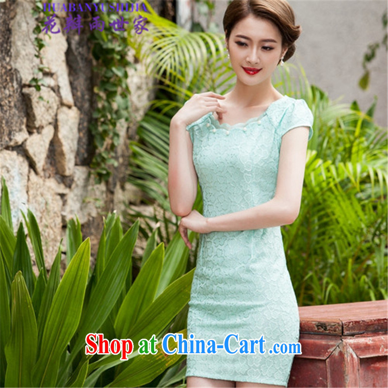Petals rain family 2015 summer lace cheongsam stylish beauty dresses, 518 - 1106 - 42 blue XL