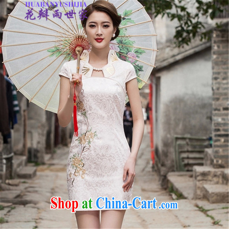 Petals rain Family Summer 2015 modern improved cheongsam dress, 518 - 1122 - 55 white XL