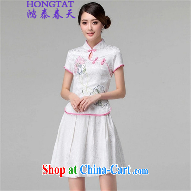 Hung-tai spring 2015 summer retro style long-sleeved dresses two piece kit, 518 - 1121 - 60 white XL