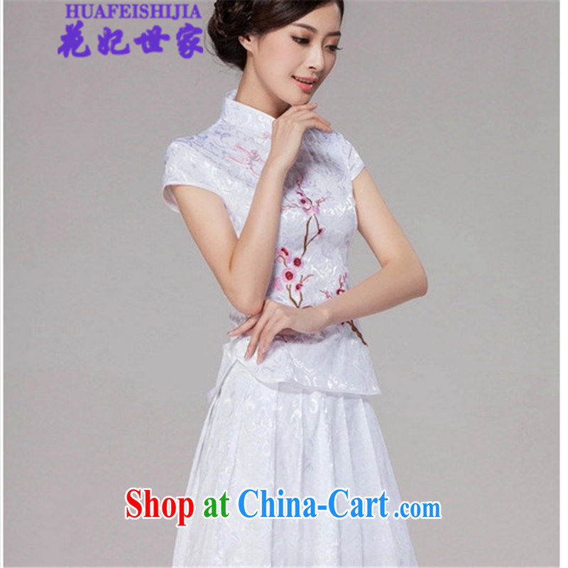 Take Princess Family Summer 2015 cheongsam dress high-end retro style two-part kit, 518 - 1125 - 60 white XL