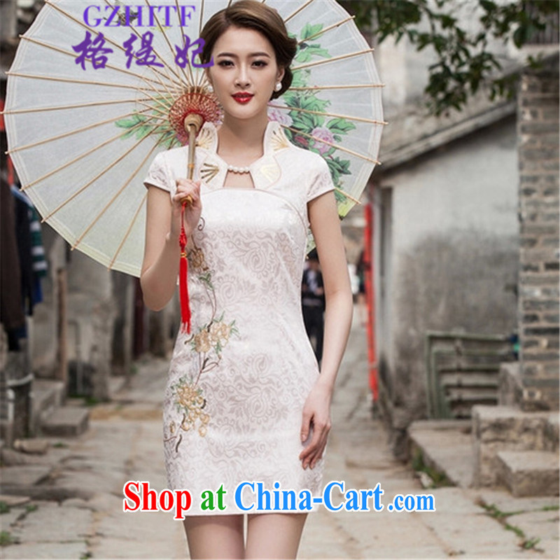 The economy as Princess Diana's 2015 summer fashion improved cheongsam dress, 518 - 1122 - 55 white XL
