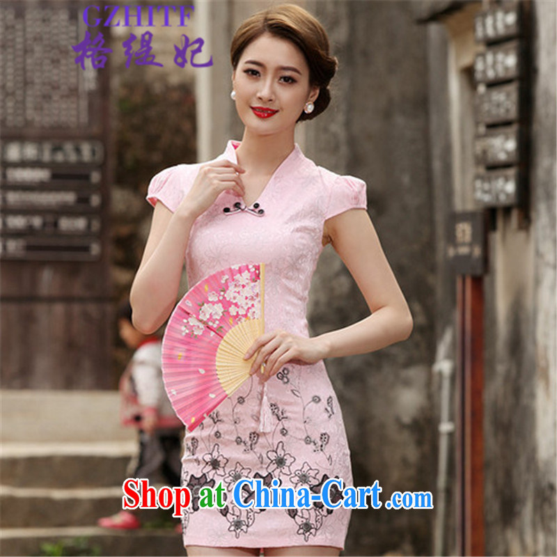 The economy 2015 royal summer retro short cheongsam dress, 518 - 1120 - 42 pink XL