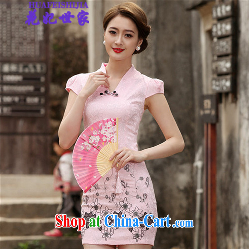 Take Princess saga 2015 summer retro short cheongsam dress, 518 - 1120 - 42 pink XL
