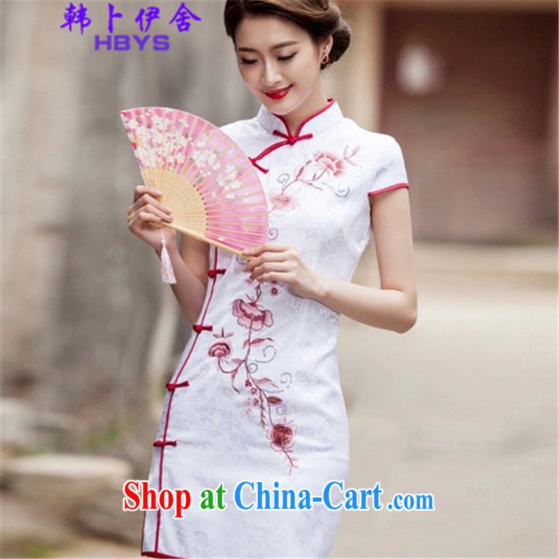 The Korea House, summer 2015 trendy short, cultivating cheongsam dress, 518 - 1124 - 55 white L