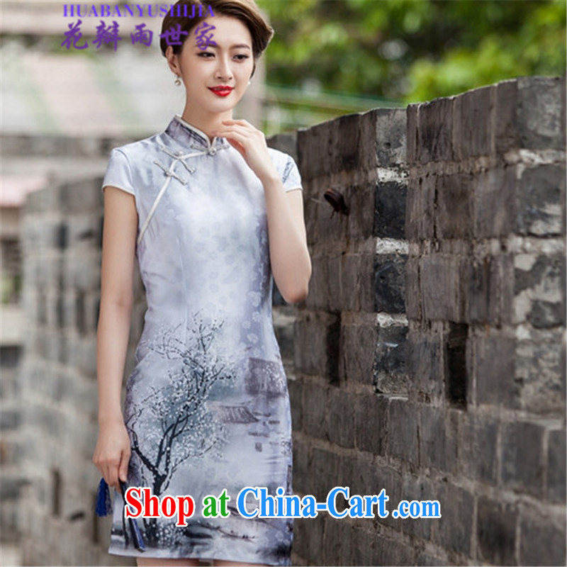 Petals rain Family Summer 2015 retro style Chinese style qipao Chinese 518 - 1107 - 48 photo color XL
