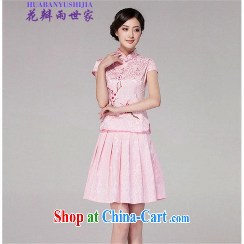 Petals rain Family Summer 2015 cheongsam dress high-end retro style two-part kit, 518 - 1125 - 60 pink XL