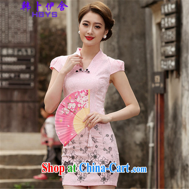 The Korea House, summer 2015 retro short cheongsam dress, 518 - 1120 - 42 pink XL