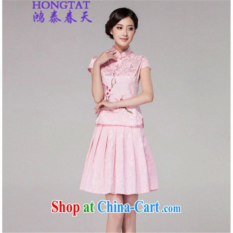 Leong Che-hung Tai Spring Summer 2015 cheongsam dress high-end retro style two-part kit, 518 - 1125 - 60 pink XL
