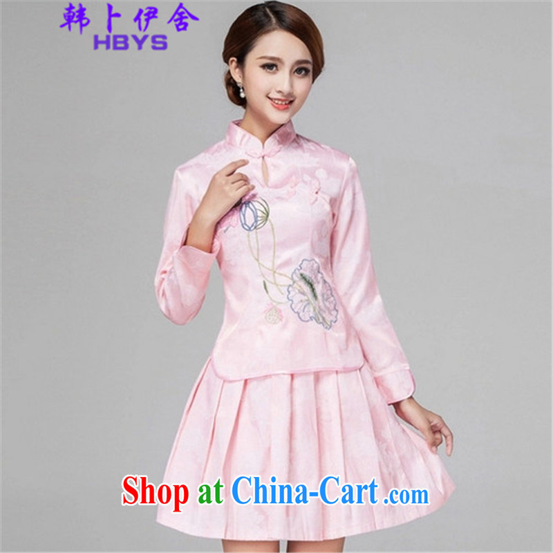The Korea House, summer 2015 retro style long-sleeved dresses two piece kit, 518 - 1121 - 60 pink XL