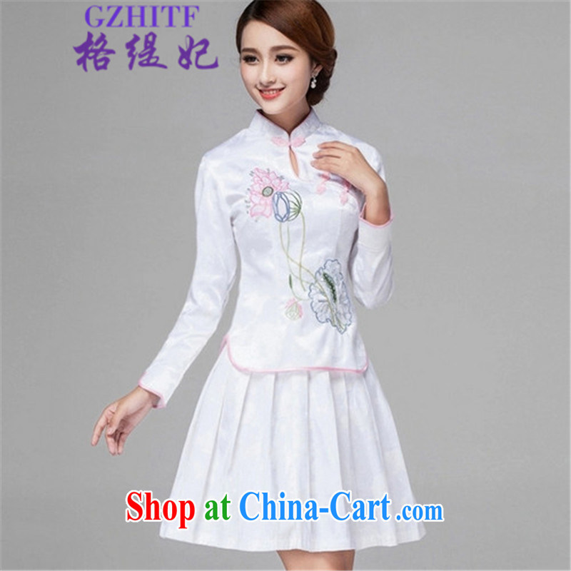 The economy 2015 Princess Diana summer retro style long-sleeved dresses two piece kit, 518 - 1121 - 60 white XL