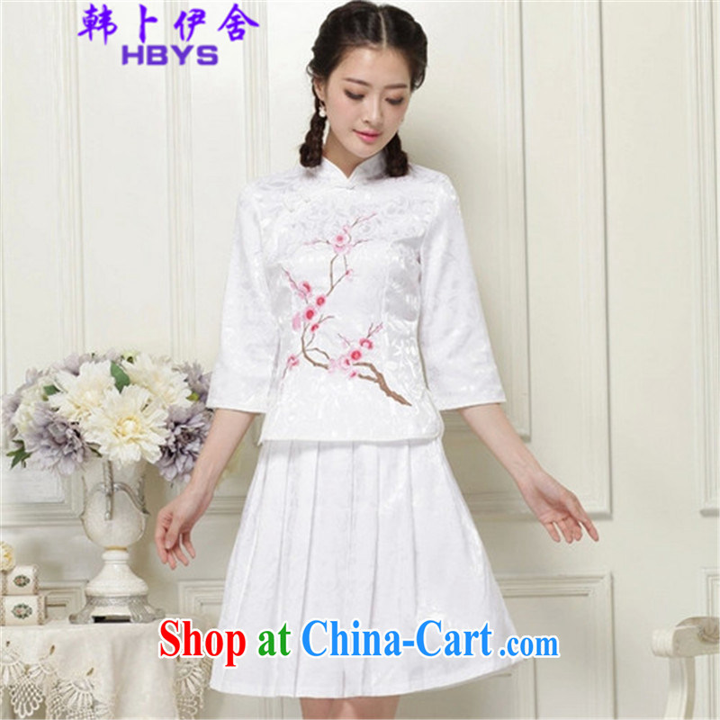 The Korea House, 2015 summer cheongsam dress high-end retro style two-part kit, 518 - 1125 - 60 white XL