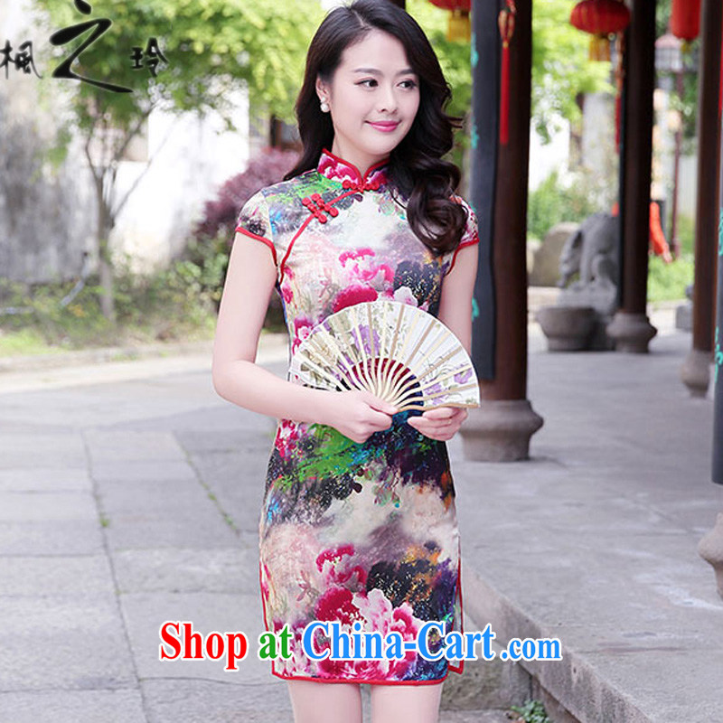 2015 summer new paragraph in cultivating long Ethnic Wind Chinese Antique improved peony flower sauna Silk Cheongsam Chinese female Red Peony M