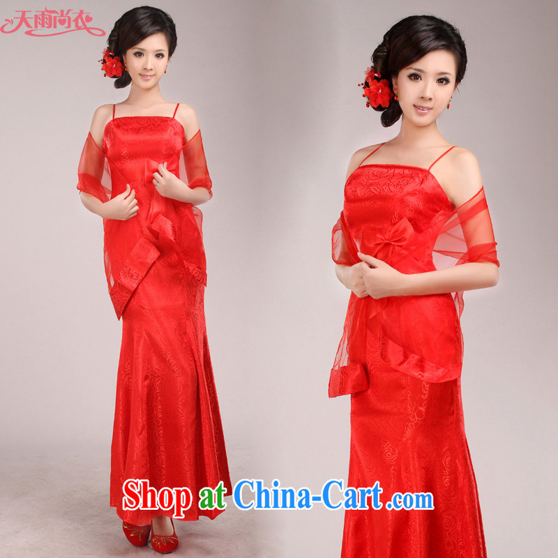 Rain is still Yi marriages served toast 2015 new suits skirts long dress improved stylish long cheongsam QP 510 red M