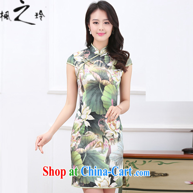 2015 summer new paragraph in cultivating long Ethnic Wind Chinese Antique improved cheongsam Silk Dresses female Lotus Pond XXL