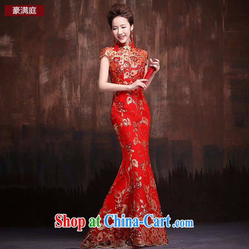 Bridal red retro improved cheongsam wedding service 2015 new lace crowsfoot cultivating short-sleeve long temperament cheongsam red XL