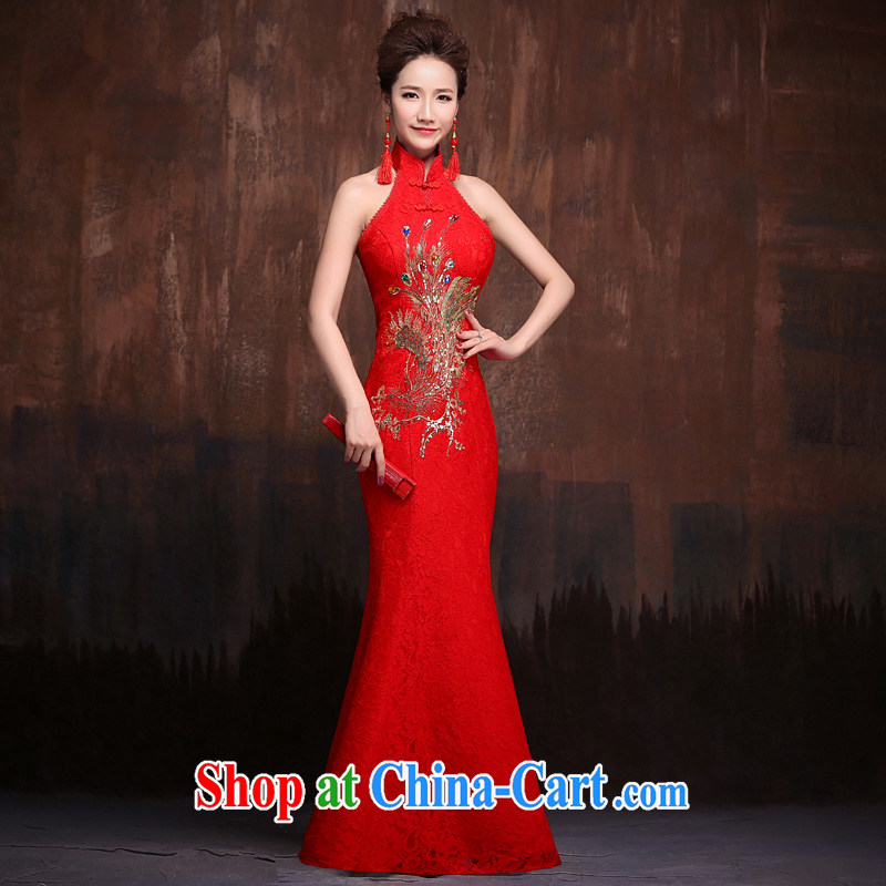 Red bridal wedding dress summer 2015 New Beauty cheongsam dress improved retro long-dresses also red XL