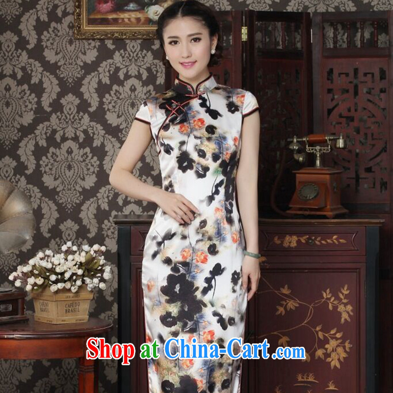 Take the heavy silk long cheongsam stylish and simple water ink take improved Chinese sauna silk long cheongsam qipao dinner water ink 2 XL
