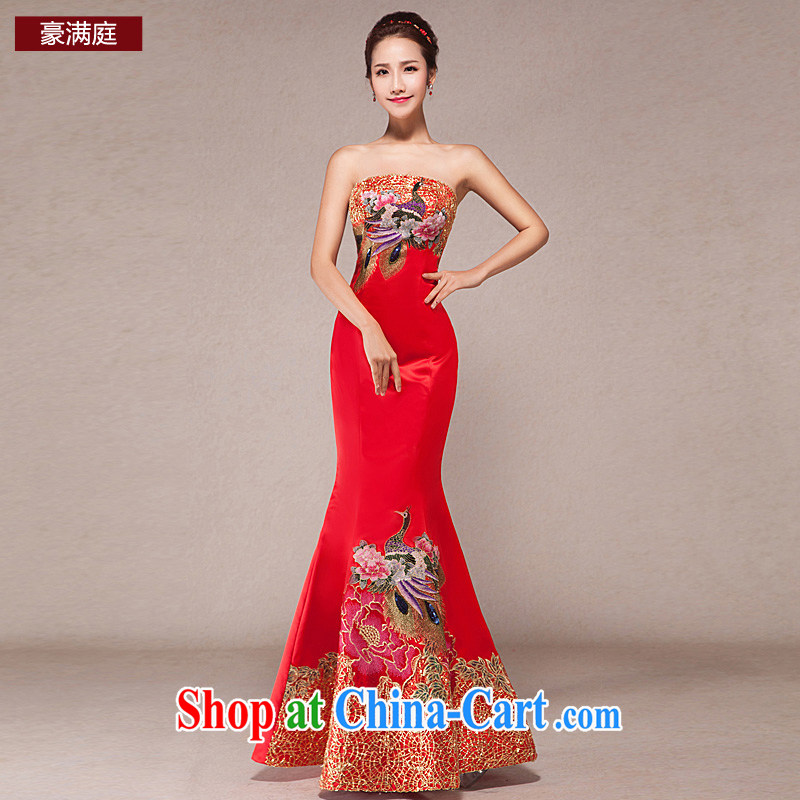 Wedding dress long serving toast red cheongsam Beauty Chest bare BEAUTY package and wedding bridal dress and red XL