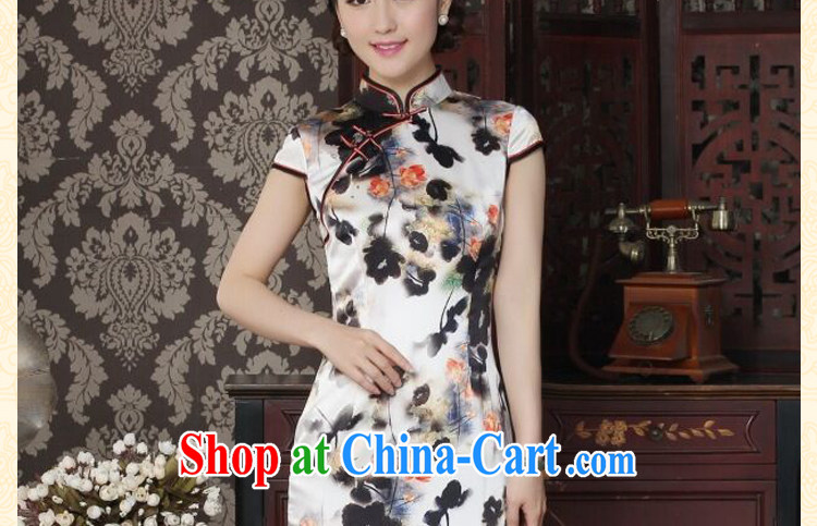 Dan smoke heavy silk long cheongsam stylish and simple water ink take improved Chinese sauna silk long cheongsam qipao dinner water ink 2 XL pictures, price, brand platters! Elections are good character, the national distribution, so why buy now enjoy more preferential! Health