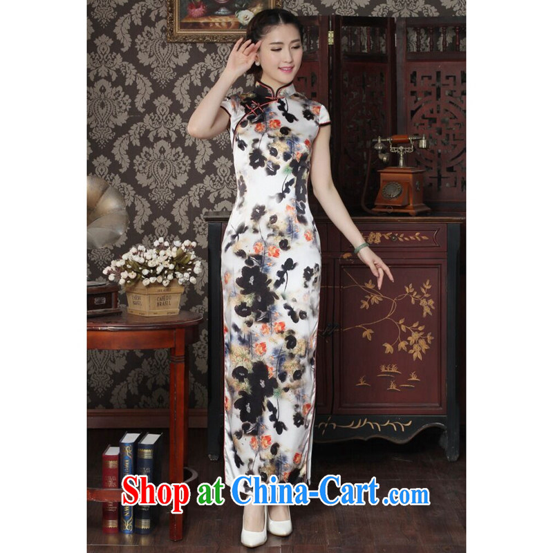 Dan smoke heavy silk long cheongsam stylish and simple water ink take improved Chinese sauna silk long cheongsam qipao dinner water ink 2 XL