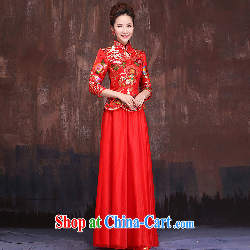 Marriages marriage red bows service 2015 spring and summer new long-sleeved retro China wind wedding dresses long red XL