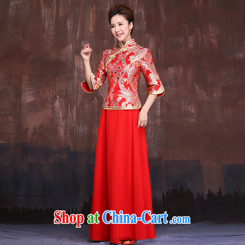 Red cheongsam dress up and down a bridal 2015 New Beauty 7 sub-cuff antique toast improved service autumn and winter long red XL