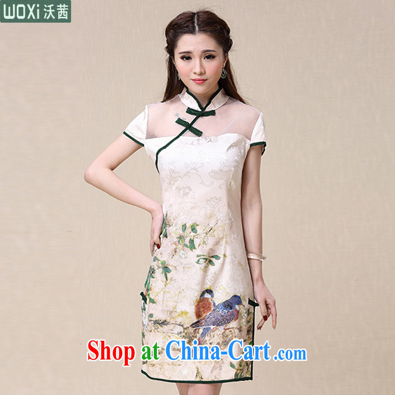 Kosovo Lucy (Woxi) 2015 summer China wind National wind cultivating high-end elegant dresses cheongsam dress 8952 picture color XXL