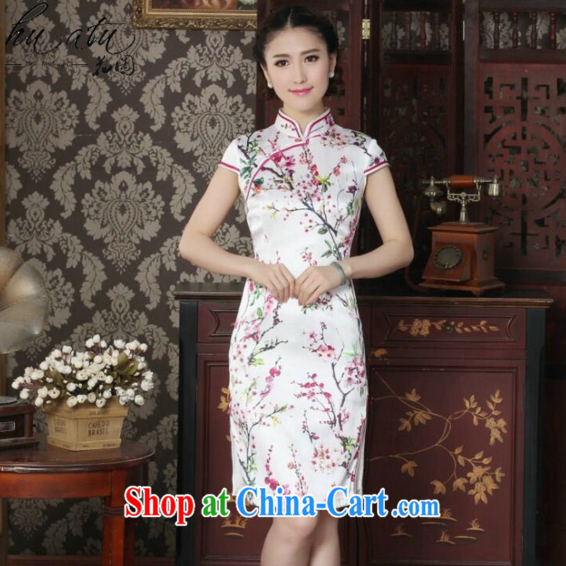 spend the summer female sauna Silk Cheongsam heavy silk Chinese improved the collar cheongsam floral cheongsam daily figure color XL