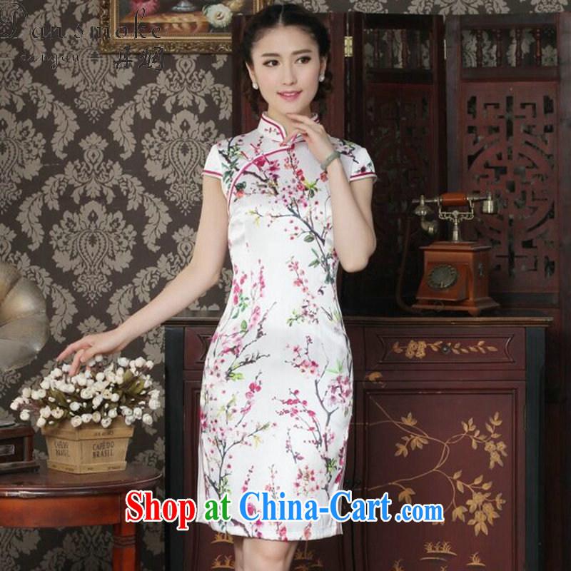 Bin Laden smoke-free summer female sauna Silk Cheongsam heavy silk Chinese improved the collar cheongsam floral cheongsam daily figure color XL, Bin Laden smoke, shopping on the Internet