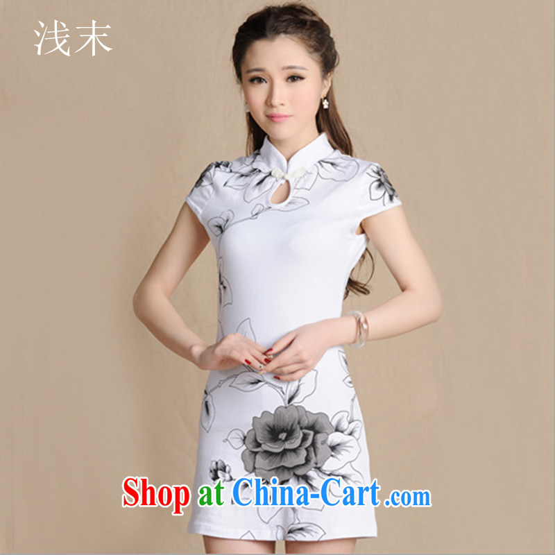 Light _at the end QIAN MO_ Ethnic Wind female new cotton ink stamp retro beauty short-sleeved qipao L 5907 white XXL