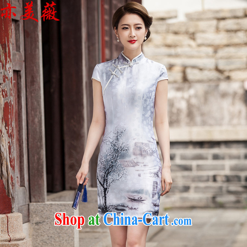 Also the US Ms Audrey EU summer 2015 new retro painting short sleeve cheongsam dress Chinese Painting (landscape), XL