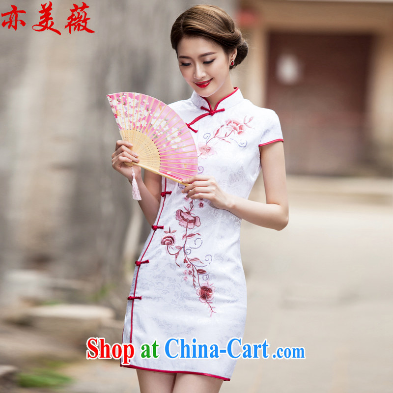 Also the US Ms Audrey EU summer 2015 new Chinese Antique improved short cheongsam dress white L