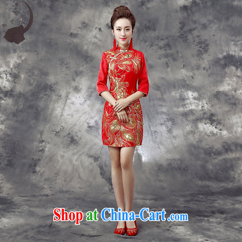Dream of the day cheongsam dress 2015 new summer bows dresses wedding dresses bridal dresses bows back doors Q 865 red tailored