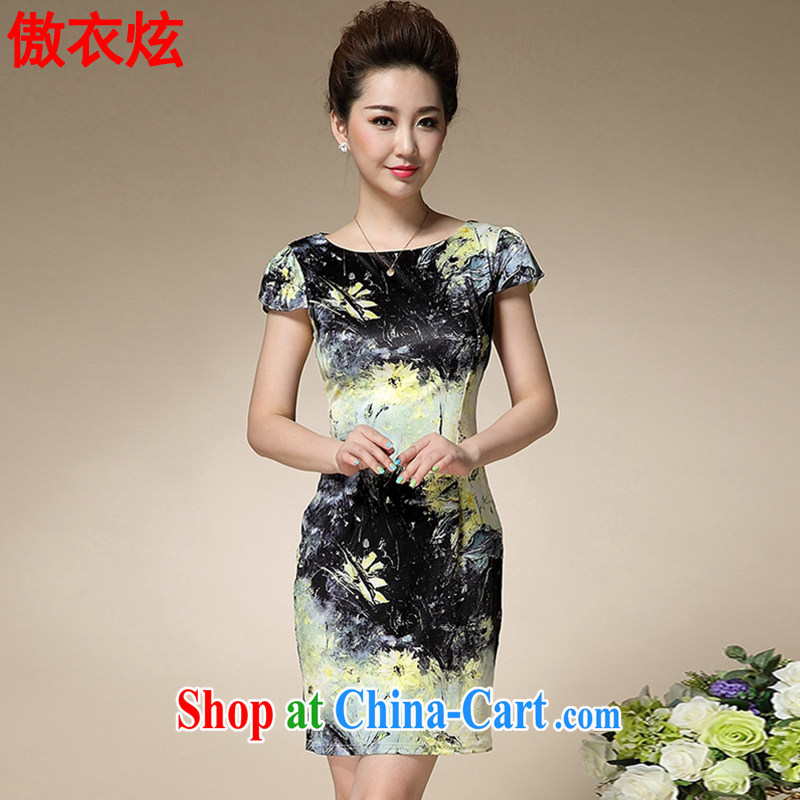 As well as clothing and cool 2015 summer new stamp duty MOM with a short-sleeved Sau San emulation Silk Dresses style retro dresses L 9195 black 3 XL
