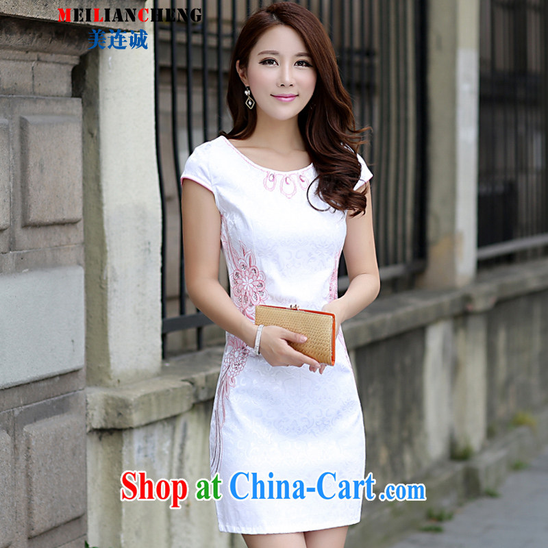 The US even good faith summer 2015 New National wind cultivating improved leaders parquet drill embroidered retro, long dresses and stylish lady further skirts dresses red XL
