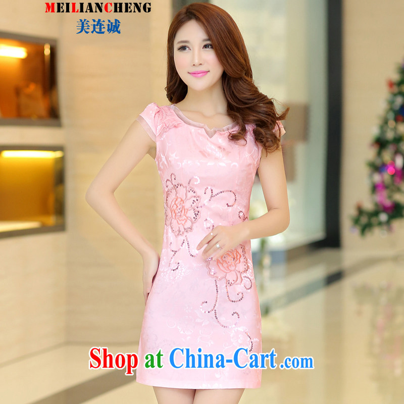 Even the US and summer 2015 new Chinese wind-cultivating improved cheongsam parquet drill hand made embroidered retro short-sleeved dresses pink XL