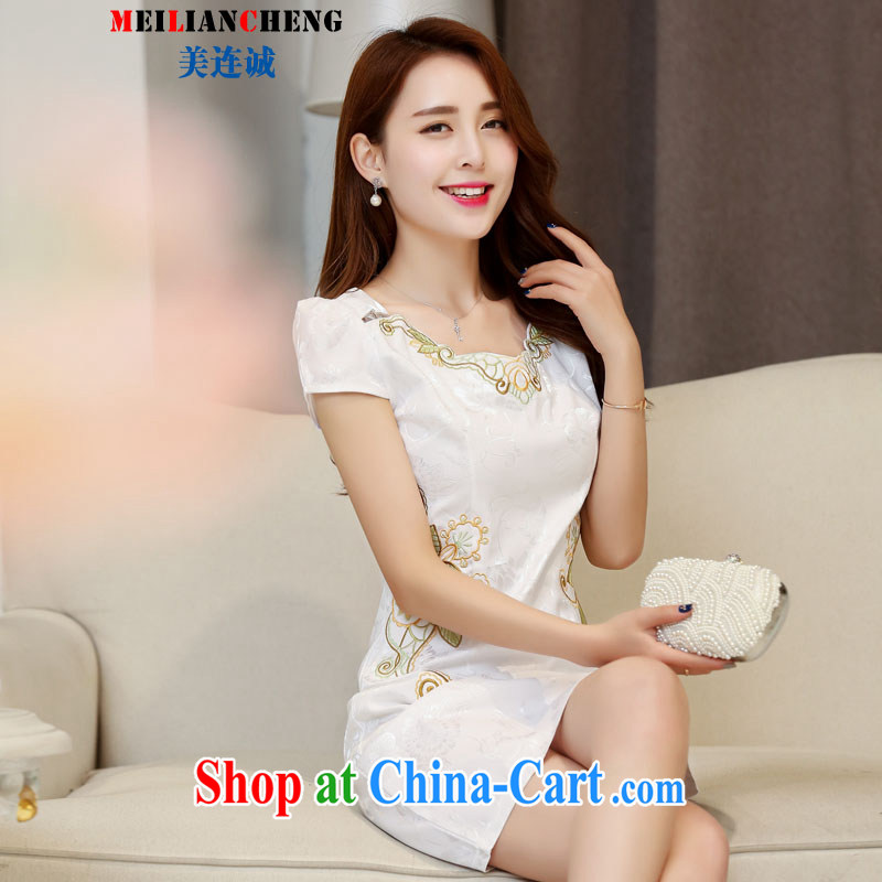 The US even-retro Beauty Fashion improved graphics thin short cheongsam dress everyday dresses spring and summer 2015 with new-waist white XXL