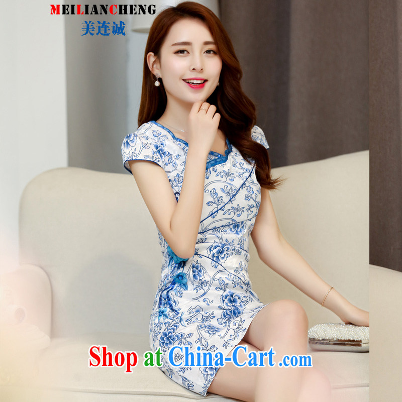 The US even-dresses 2015 new spring and summer jacquard cotton retro daily improved cheongsam blue and white porcelain dresses temperament female blue and white porcelain XXL