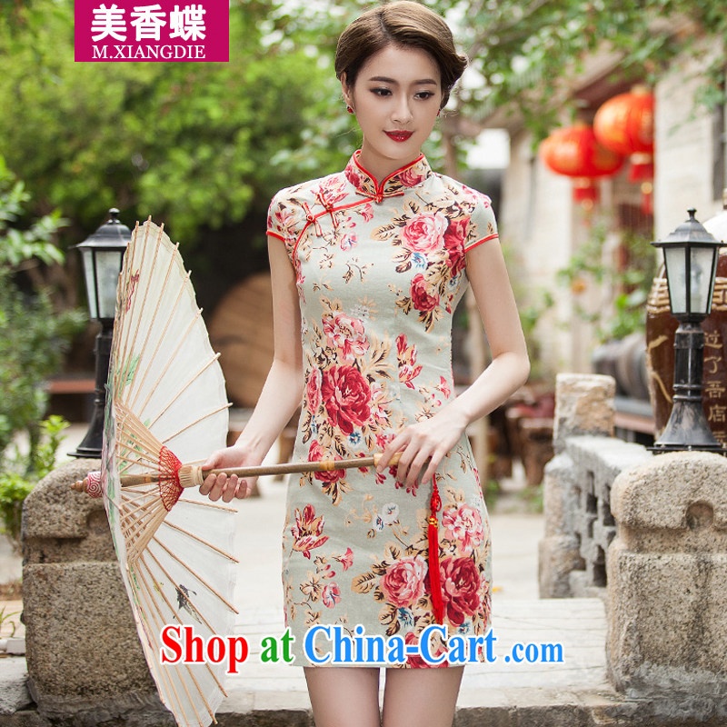 US-Hong Kong butterfly 2015 summer new elegant beauty short cheongsam daily improved stylish dress suits women XL