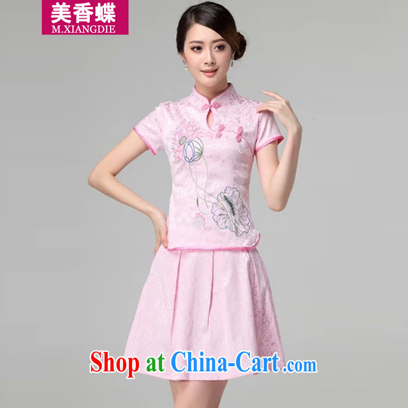 US-Hong Kong butterfly summer 2015, new women are decorated with daily retro short-sleeved improved stylish outfit two piece kit pink XL