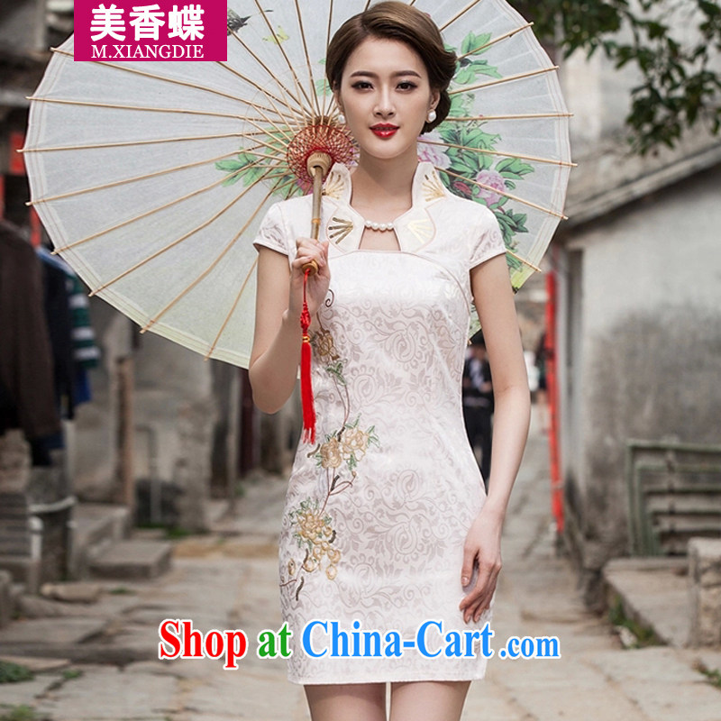 US-Hong Kong butterfly 2015 summer new stylish improved cheongsam dress daily video thin beauty short dress apricot XL