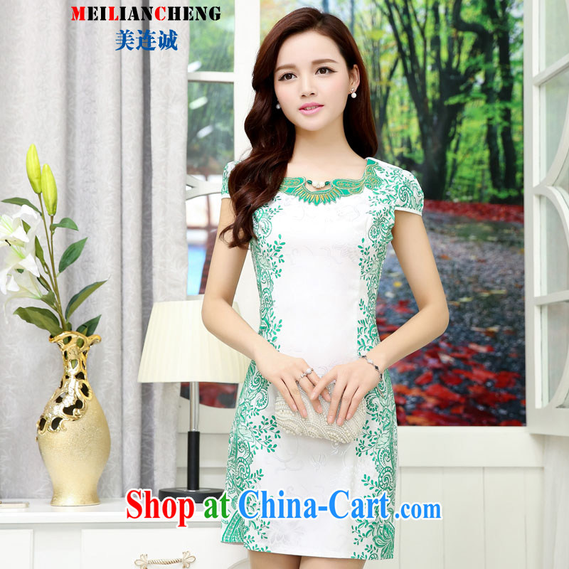 Short with new Chinese small dress improved cheongsam elegant antique celadon wrapped around branches and floral beauty graphics thin dresses white green